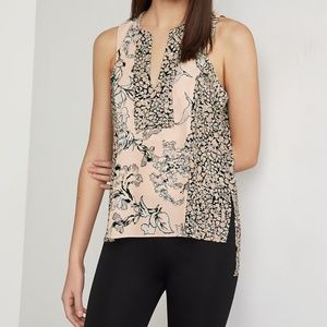BCBGMaxAzria Top Pink Floral Sleeveless